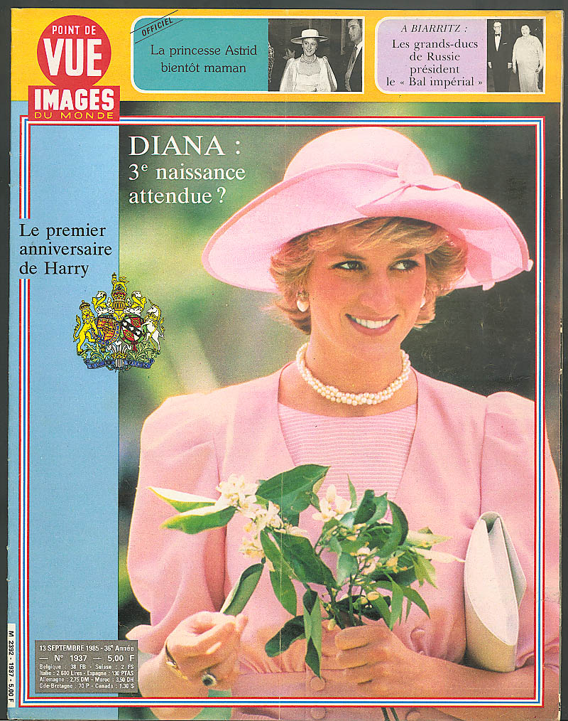 POINT DE VUE Images du Monde Princess Diana Astrid expecting 9/13 1985