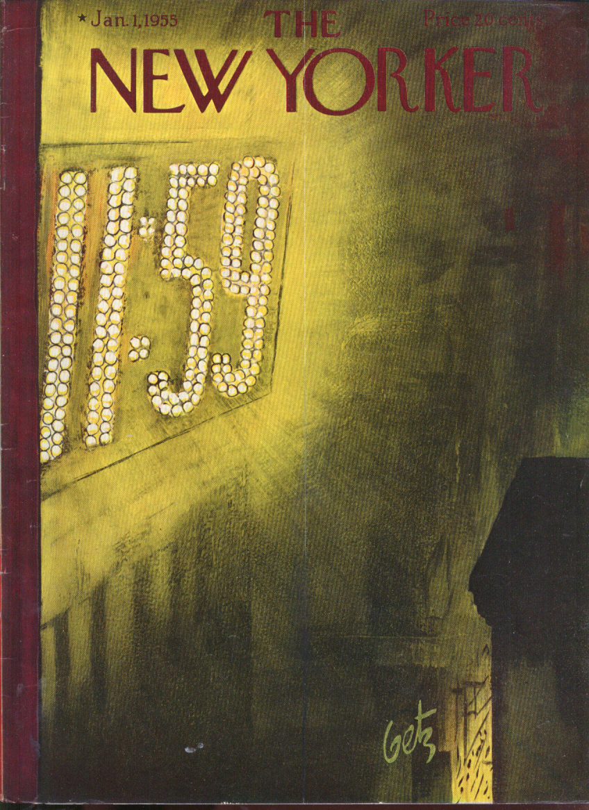 New Yorker cover Getz 11:59 New Year's Eve neon sign 1/1 1955