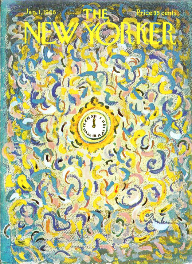 New Yorker cover Birnbaum swirl New Year clock 1/1 1966