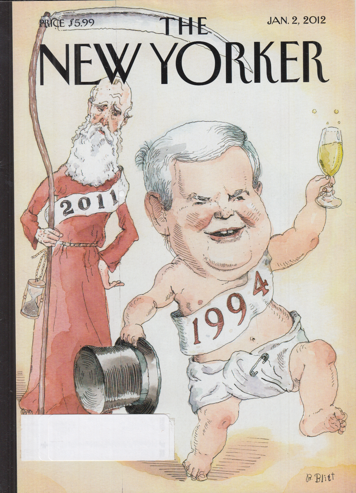 New Yorker cover Blitt 1/2 2012 Father Time 2011 watches Baby Gingrich as 1994