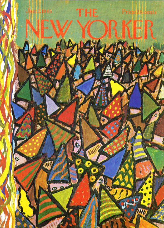 New Yorker cover Birnbaum sea of party hats 1/2 1965