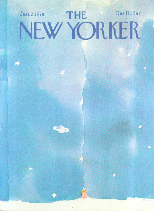 New Yorker cover Blechman New Year baby peeks 1/2 1978