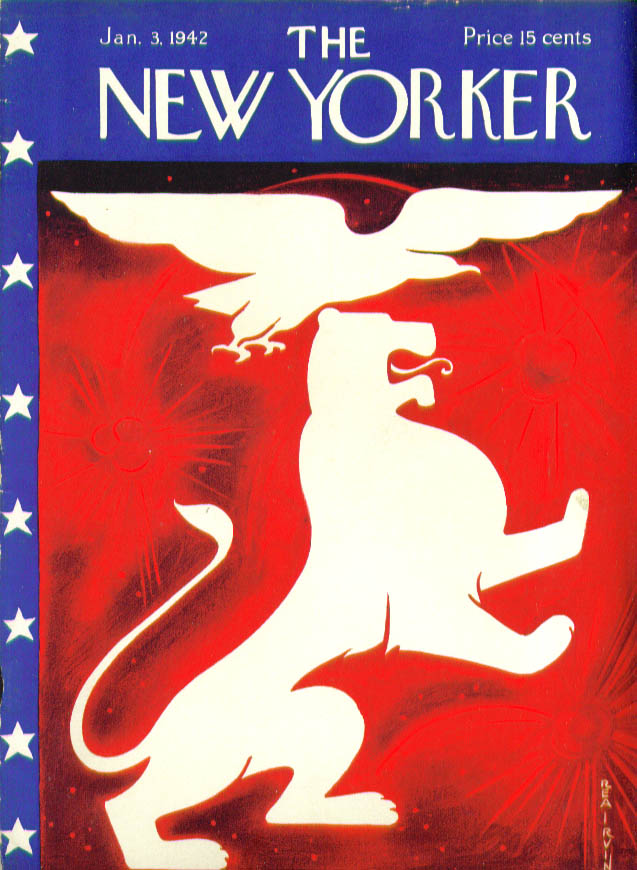 New Yorker cover Rea Irvin Eagle & lion bombs bursting in air 1/3 1942