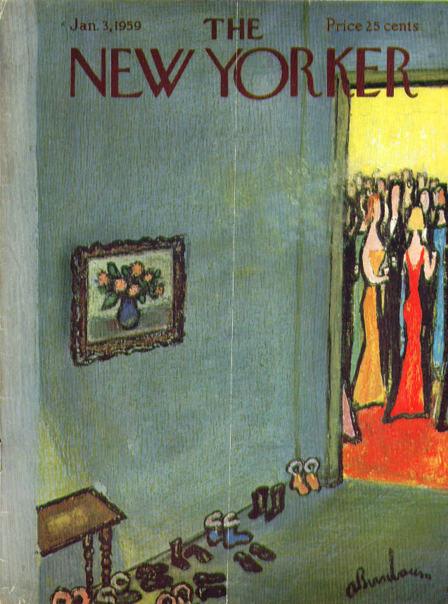 New Yorker cover Birnbaum galoshes at party 1/3 1959