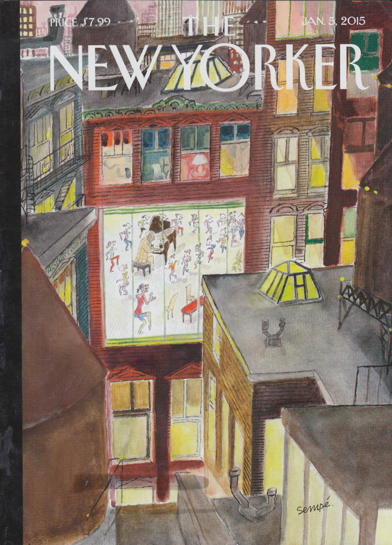 New Yorker cover 1/5 2015 Sempe: Dancercize seen from rooftop view