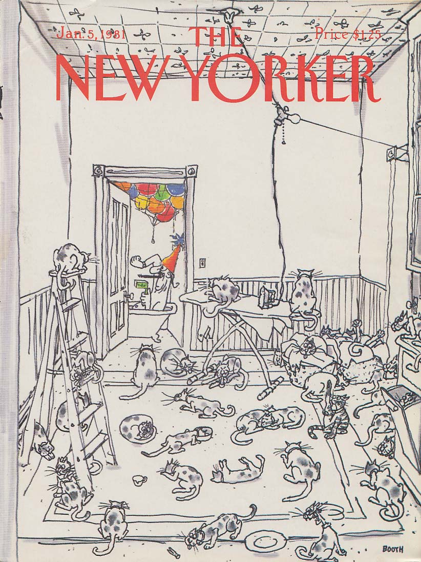 New Yorker cover 1/5 1981 George Booth New Year's Eve man in tub & 37 cats