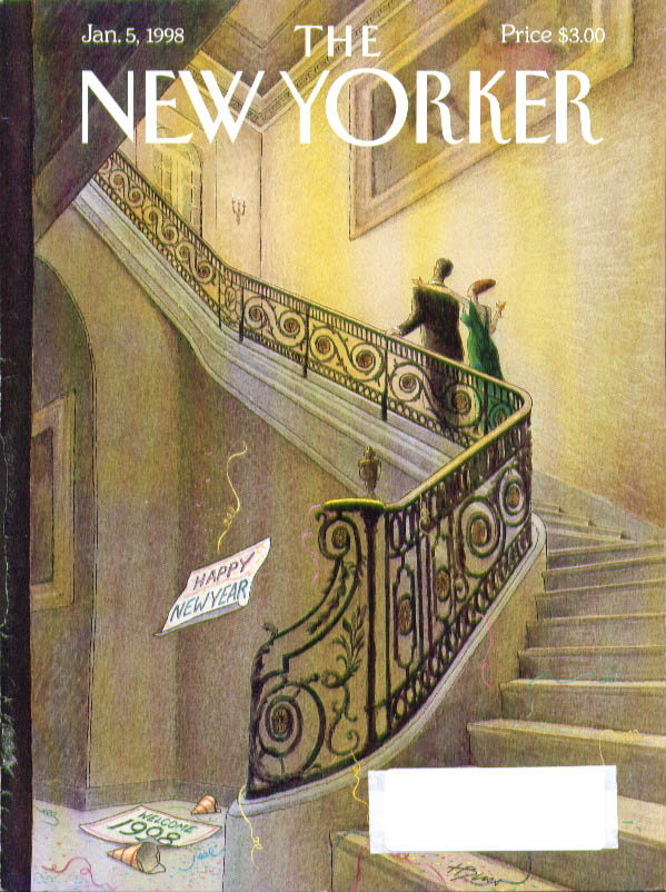 New Yorker cover Bliss rich couple up fancy staircase New Year's Day 1/5 1998