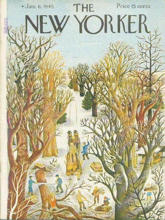 New Yorker cover Ilonka Karasz logging in winter 1/6 1945