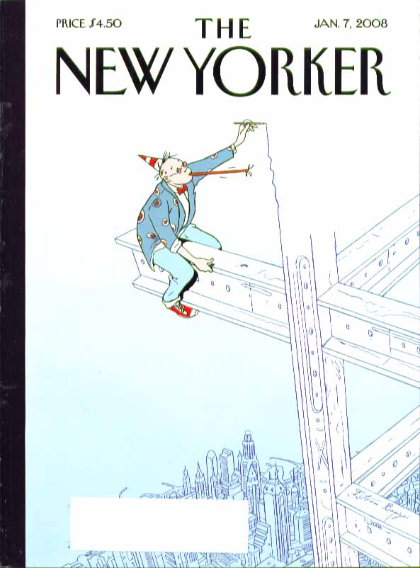 Image for New Yorker cover Istvan Banyai partying architect draws beam he sits on 1/7 2008