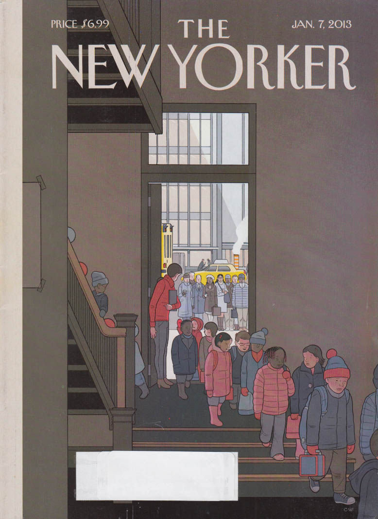 New Yorker cover 1/7 2013 Ware: Parents watch kids enter school