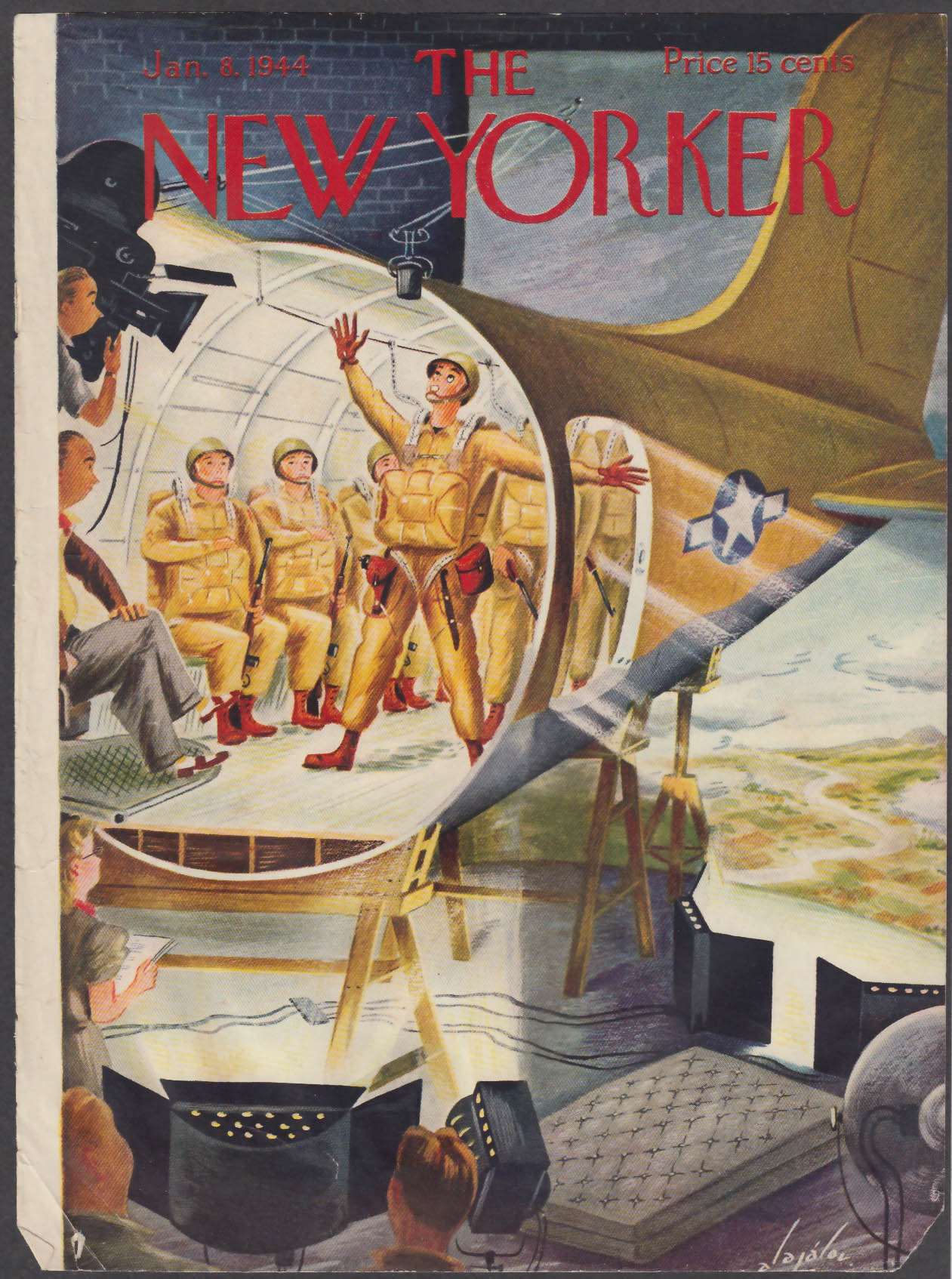 New Yorker cover Alajalov paratroopers acting for the movies 1/8 1944