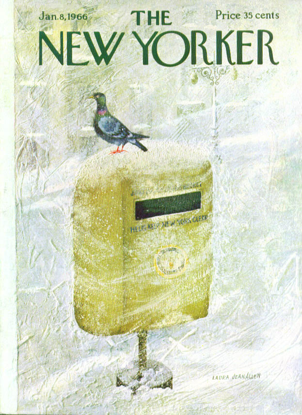 New Yorker cover Allen pigeon on trash bin 1/8 1966