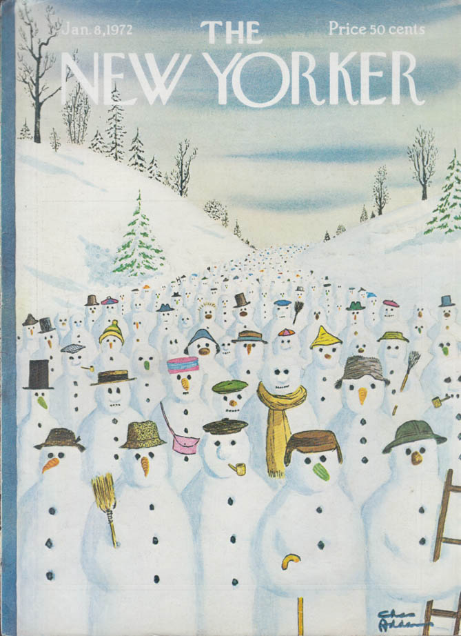 New Yorker cover Chas Addams parade of snowmen 1/8 1972