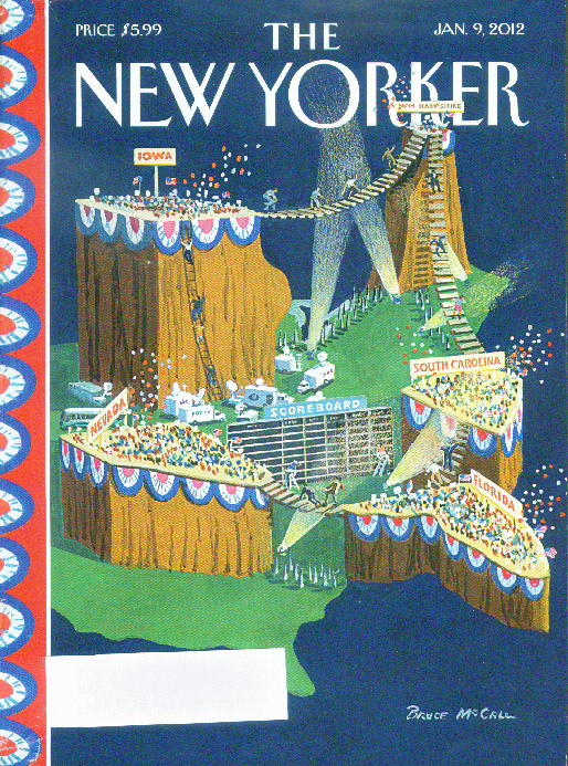 New Yorker cover Bruce McCall topographical Presidential Convention 1/9 2012