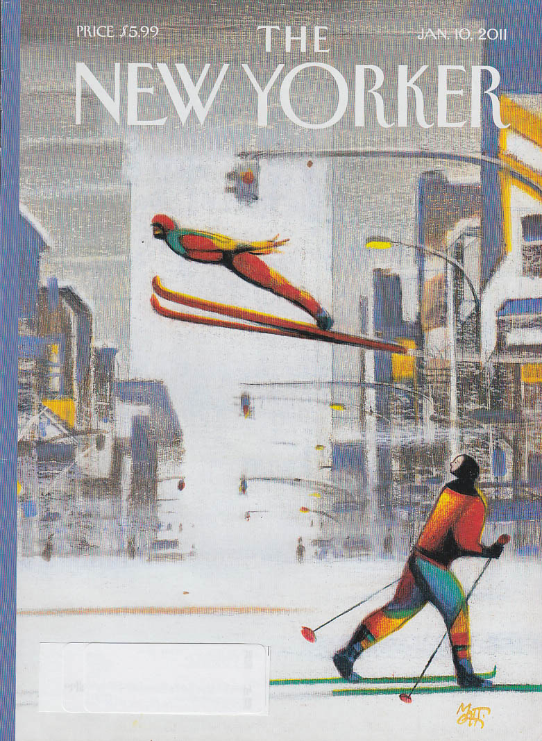 New Yorker cover 1/10 2011 Mattotti: skijumper in midtown showstorm