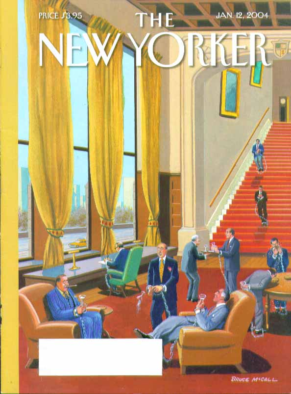New Yorker cover Bruce McCall men's club members chained & cuffed 1/12 2004