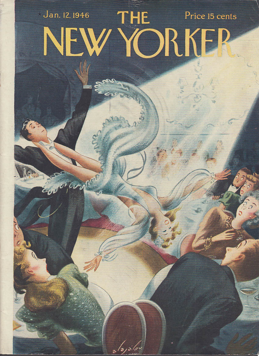New Yorker cover Alajalov trick dancers scare crowd at nightclub 1/12 1946