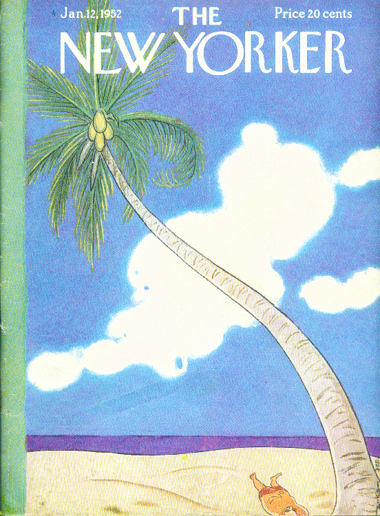 New Yorker cover Rea Irvin curving palm tree, sleeping sunbather 1/12 1952