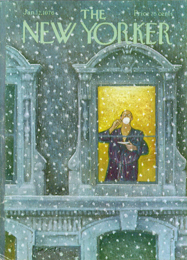 Image for New Yorker cover Saxon robed sipper sees snow 1/12 1976