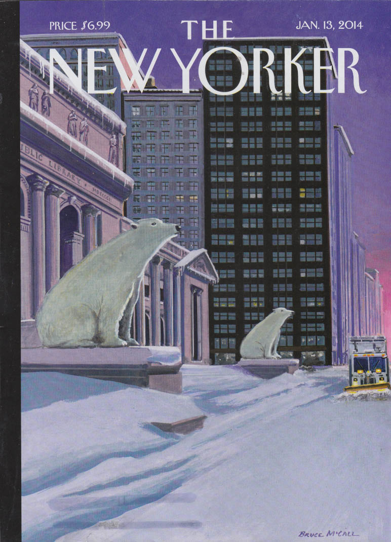New Yorker cover 1/13 2014 Bruce McCall: Polar Bears as NY Public Library lions