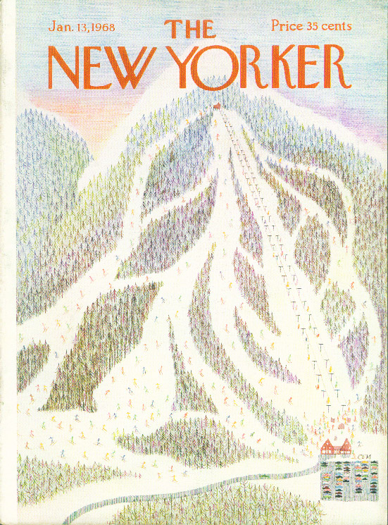 New Yorker cover CEM ski slope patterns on mountainside 1/13 1968