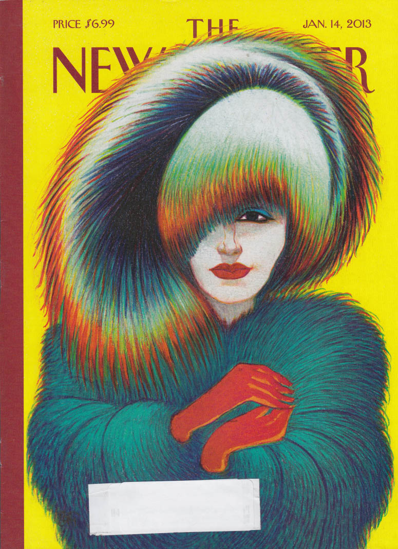 New Yorker cover 1/14 2013 Mattiotti: winter warmth of feathers & gloves