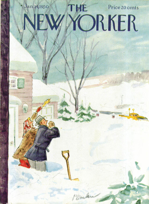 New Yorker cover Perry Barlow couple shouting to passing snowplow 1/14 1950