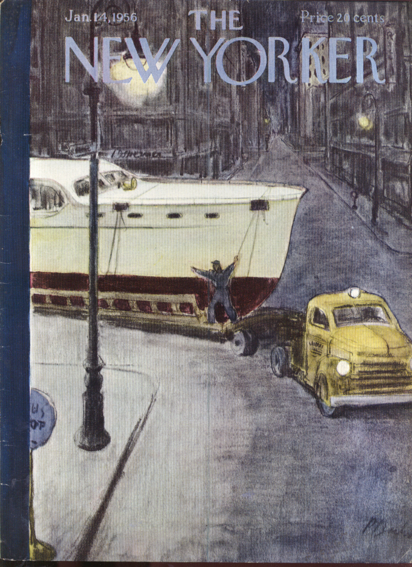 New Yorker cover Barlow flatbedding a yacht after midnight in city 1/14 1956