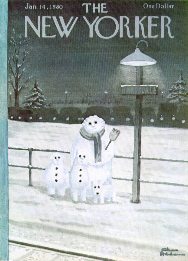 New Yorker cover Addams snow family trackside 1/14 1980