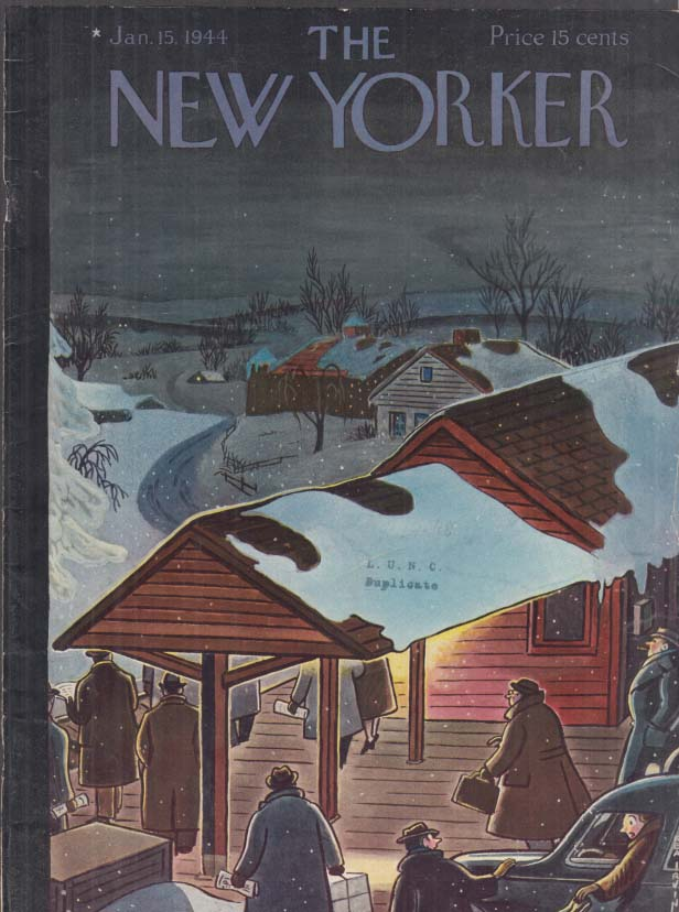 New Yorker cover Rea Irvin early morning commuters at depot 1/15 1944