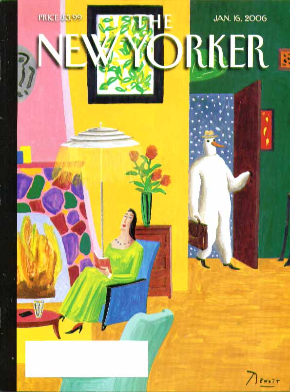 New Yorker cover Benoit van Innis snowman arrives home from work 1/16 2006