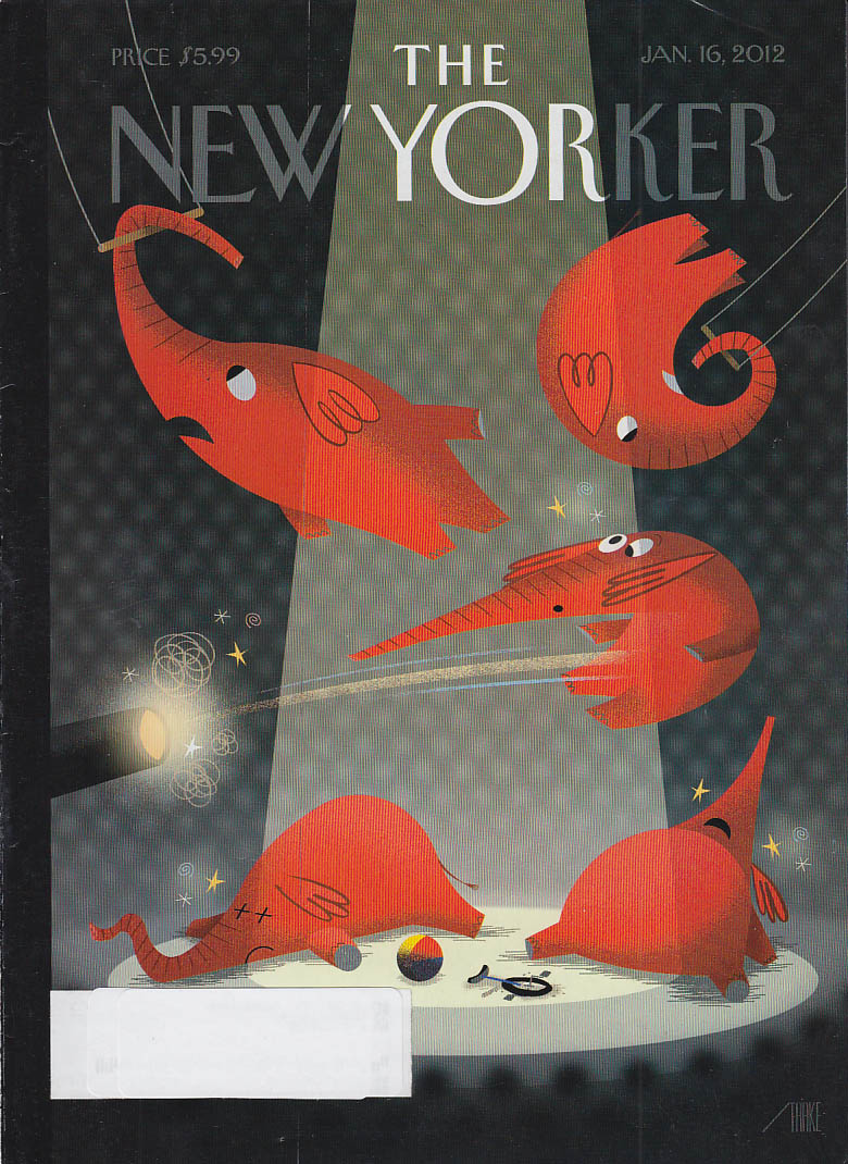 New Yorker cover 1/16 2012 Staake: red elephants in circus center ring