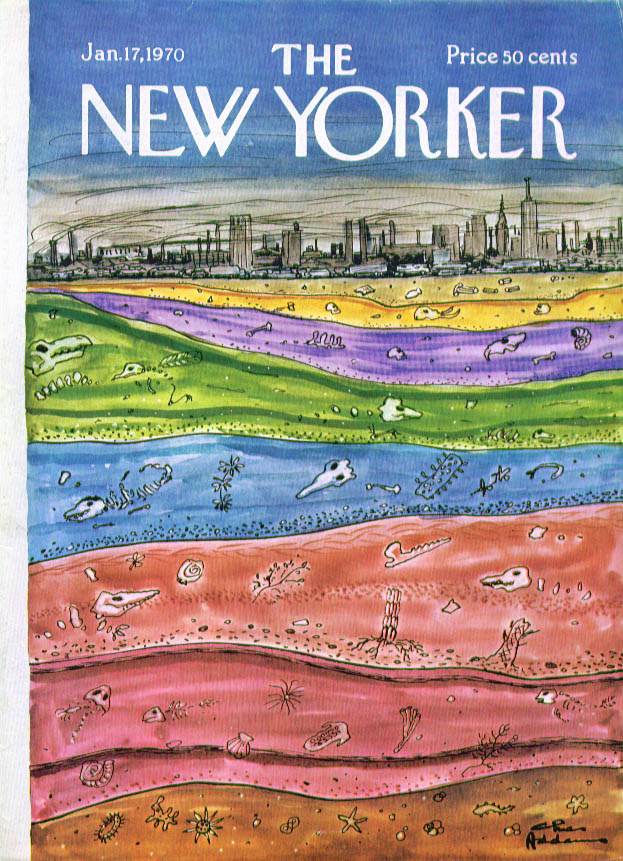 New Yorker cover Addams city bed fossils 1/17 1970