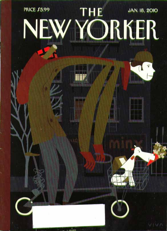 New Yorker cover 1/18 2010 Viva: bicycle messenger dog & flowers in basket