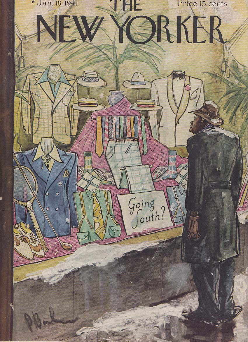 New Yorker cover 1/18 1941 Peter Barlow Negro window shopping for resort wear