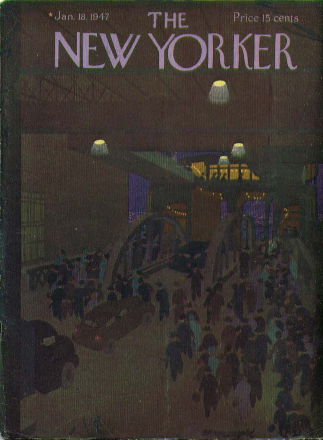 New Yorker cover Kronengold commuters boarding ferry 1/18 1947
