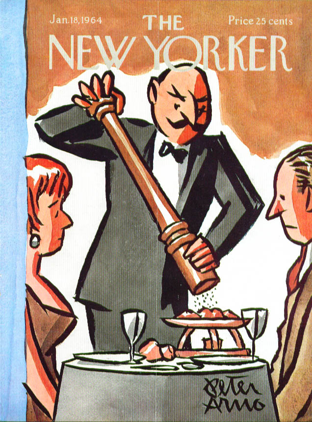 New Yorker cover Arno huge pepper grinder 1/18 1964