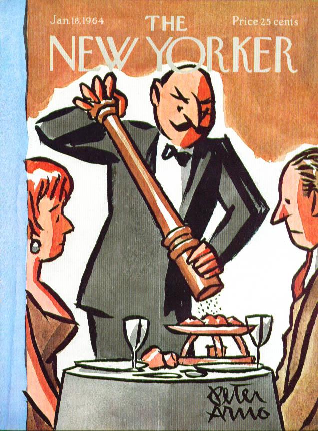 New Yorker cover Arno huge pepper grinder 1/18 1964