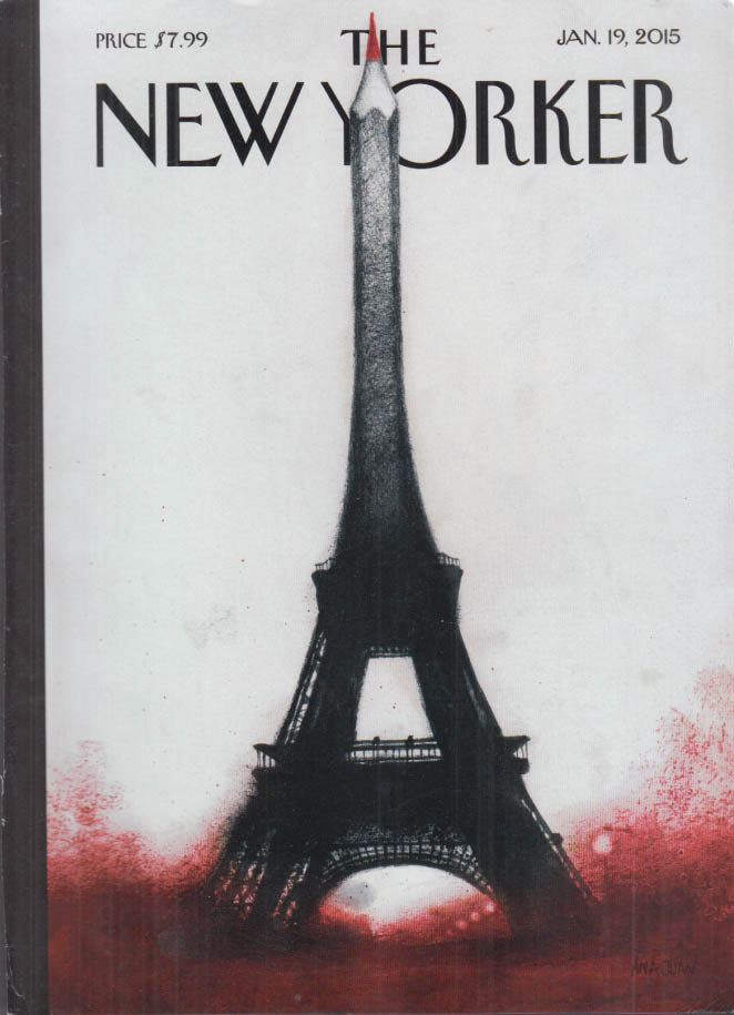 New Yorker cover 1/19 2015 Ana Juan: Eiffel Tower pencil point Charlie Hebdo
