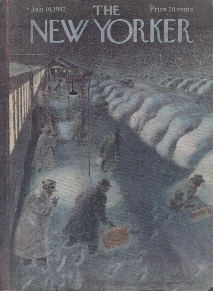 New Yorker cover Price snowbound suburb depot 1/19 1952