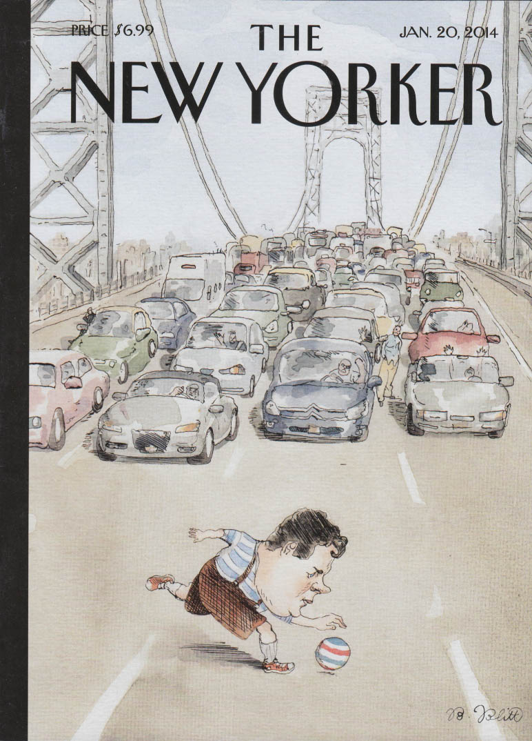 New Yorker cover 1/20 2014 Blitt: GW Bridge traffic stops to let Christie play