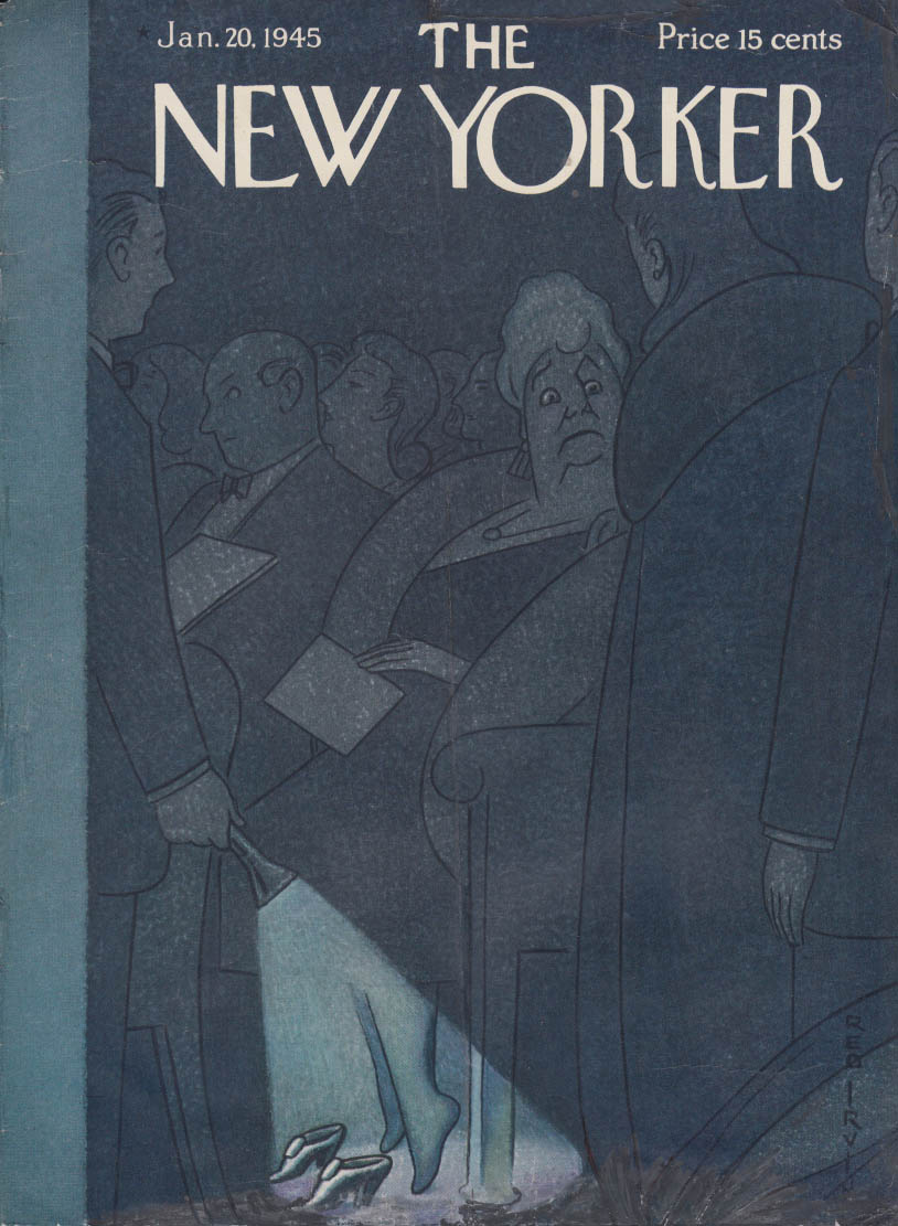 New Yorker cover 1/20 1945 Rea Irvin stout woman must move for theatre patron