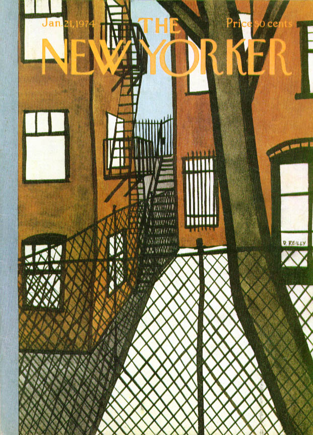 New Yorker cover Reilly snow-filled backyards 1/21 1974