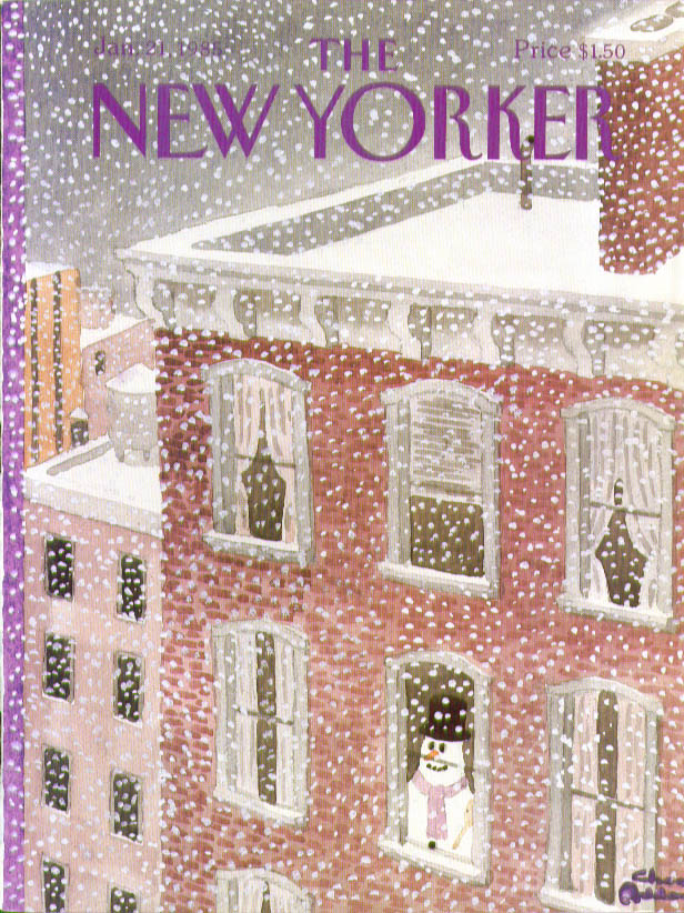 New Yorker cover Addams snowman inside looks out at a storm 1/21 1985