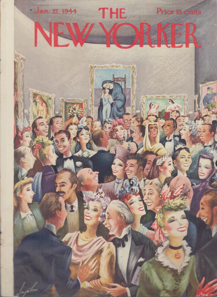 New Yorker cover Alajalov Socializing at modern art auction 1/22 1944