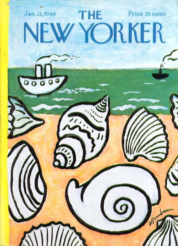 New Yorker cover Birnbaum seashells ashore 1/22 1966