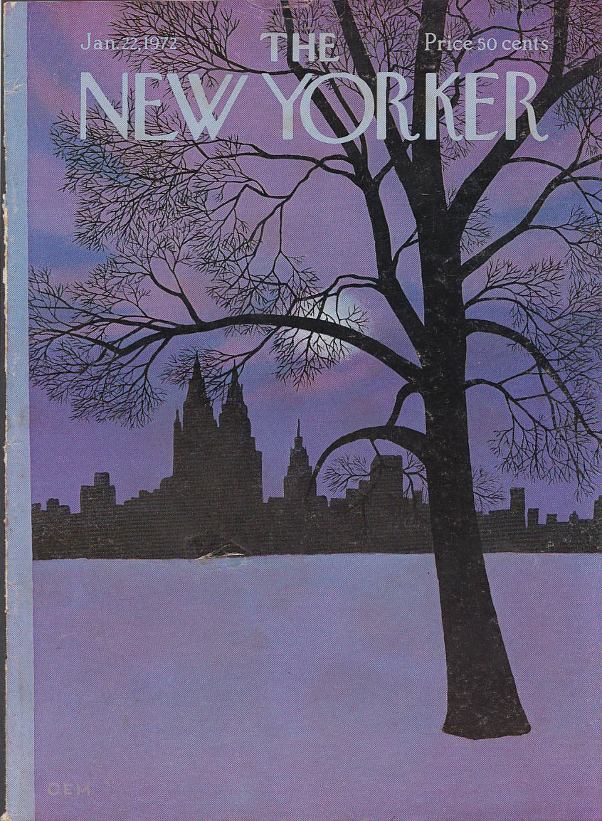 New Yorker cover C E Martin purple moonlight on snow-covered park 1/22 1972