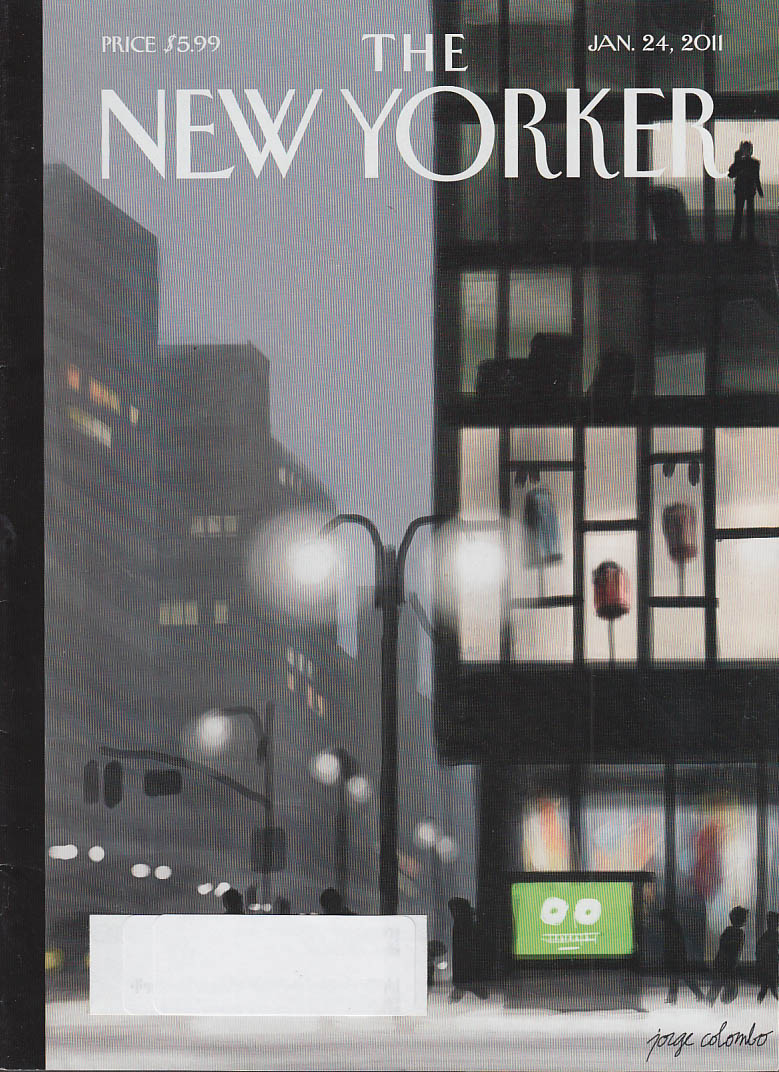 New Yorker cover 1/24 2011 Colombo: foggy night scene in the city