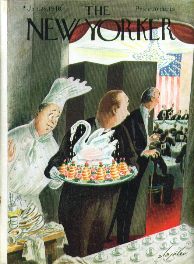 New Yorker cover Alajalov melting ice sculpture awaits long speech end 1/24 1948