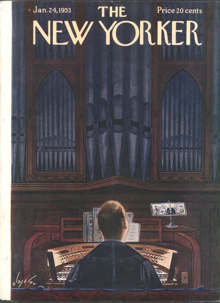New Yorker cover Alajalov organist eyes bride & groom rearview mirror 1/24 1953